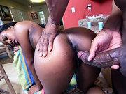 Black girl Chanell Heart taking large black rod