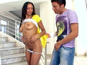 Bethany Benz shows off her goods and lets him suck her tits