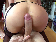 Eva Karera getting her rear hole pounded in threesome
