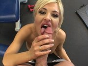 Andi Anderson gets her pussy licked and then sucks his cock in the gym