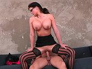Phoenix Marie wearing stockings and glasses riding big hard rod