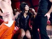 Fishnet mistress Katrina Jade gorging on two cocks at once
