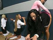 Ava Addams, Diana Doll, Nikki Delano and Franceska Jaimes fucking four cocks from the wall holes