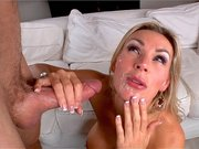 Cum hungry MILF Tanya Tate receives monster load all over her face