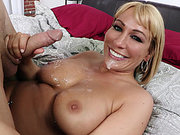 Mellanie Monroe receives sticky cum on her chin and breasts