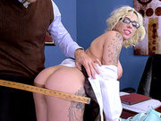 Tattoo schoolgirl Harlow Harrison gets a pussy licking from her dean