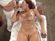 Busty mom Janet Mason sucking his juicy cock