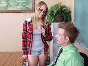 Dakota James foreplays with her teacher in the classroom