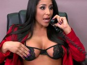Jenaveve Jolie talking by the phone and getting her snatch licked
