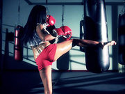 Aryana Augustine working out in the boxer gym