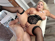 Big blonde Jade Rose got fat from too much dick