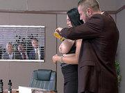 Busty brunette secretary Missy Martinez tit licked in the office
