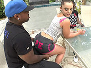 Liza Del Sierra seducing two black guys and begging for big cock in her ass