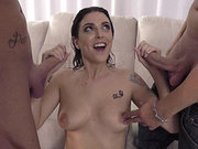 Raven slut Amelia Lyn loves gagging on two dicks at once