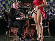 Yurizan Beltran demonstrates him her pussy and sucks his big cock