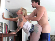 Blonde mom Ryan Conner plowed doggy style while standing up